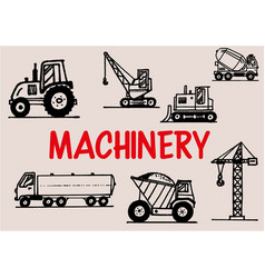 Handdrawn machinery doodles vector