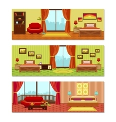 Hotel rooms compositions vector