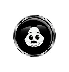 Image dog rocket porthole vector