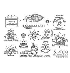 Krishna janmashtami line icons set vector