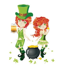 Leprechaun Boy and Girl2 vector image vector image