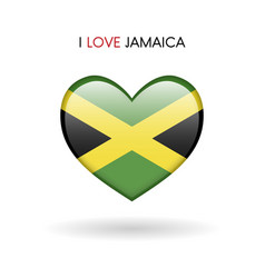 Love jamaica symbol flag heart glossy icon on a vector