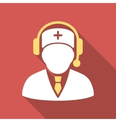 Medical emergency manager flat square icon with vector