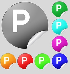Parking icon sign set of eight multi colored round vector