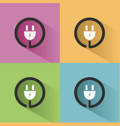 plug icon with shadow on colored backgrounds vector image vector image