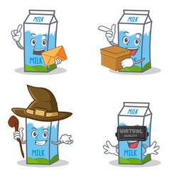 Set of milk box character with envelope box witch vector