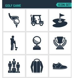 Set of modern icons golf game car hole vector