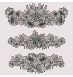 Set of vintage flowers compositions vector image