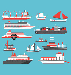ships set passenger cruise ship yacht bulk vector image