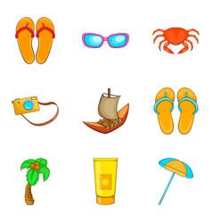 Sunburn icons set cartoon style vector