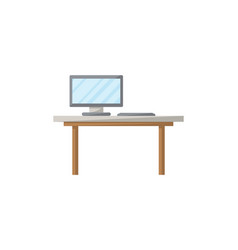 table with monitor isolated icon in flat style vector image vector image