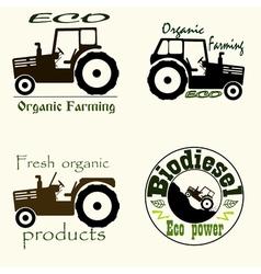 Tractor emblem set vector