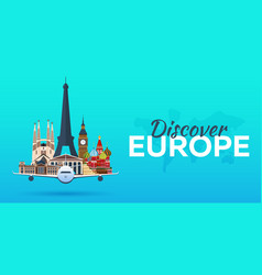 Travel to europe airplane with attractions vector