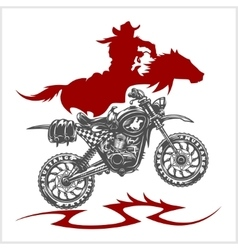 Motocross moto and horse - emblem vector