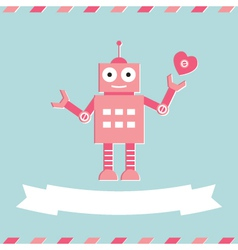 Valentines Day cute robot card vector image