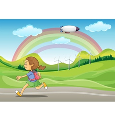 A student running in the street vector