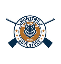 Hunting sport or hunter club wolf icon vector