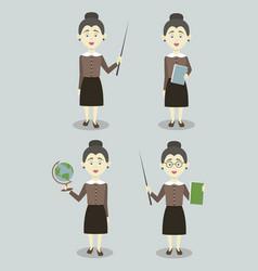 set of female professional teacher vector image