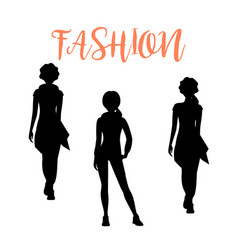 Fashion woman silhouettesa in loose clothes vector