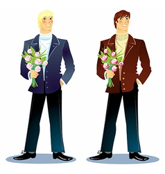 Man with a bouquet vector
