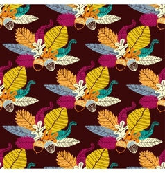 Seamless pattern with acorns and oak leaves vector