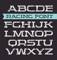 Serif font in retro racing style vector