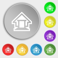 House icon sign symbol on eight flat buttons vector