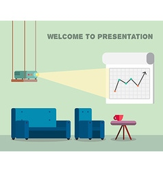 Presentation room with projector and comfortable vector