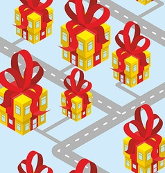 City presents seamless pattern building of gift vector