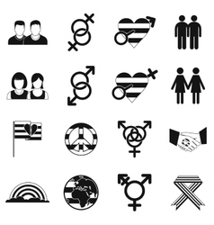 Gays simple icons set vector