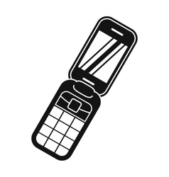 Clamshell handphone black simple icon vector image