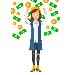 Happy woman with flying money vector
