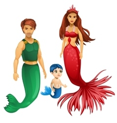 Family of mermaids mother father and child vector image