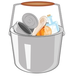 Pail with rubbish vector