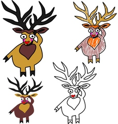 A set of Christmas deers vector image vector image
