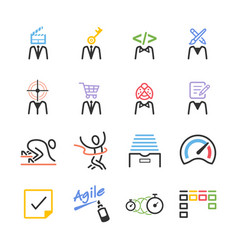 agile team icon set vector image