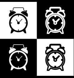 Alarm clock sign black and white icons vector