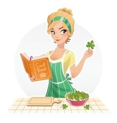 Beautiful girl cook food vector