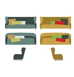 Big sofas set furniture for your interior design vector
