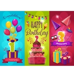 Birthday party banners set vector