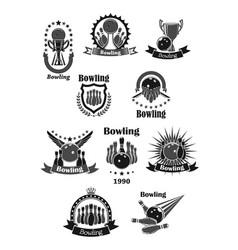 bowling game championship awards icons set vector image vector image