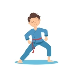 Boy doing meditative tai chi exercise in blue vector