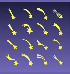 Cartoon shooting stars comets or meteors vector
