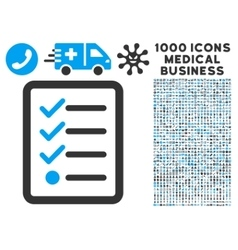 Checklist icon with 1000 medical business symbols vector