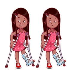 Cheerful and sad girl with a broken leg in a cast vector