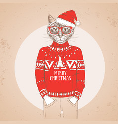 christmas hipster fashion animal cat vector image