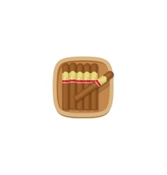 Cigars box with havana cigarets icon vector image
