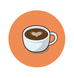 coffee cup with love heart view vector image
