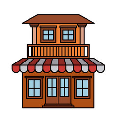 Colorful silhouette of house with two floors with vector