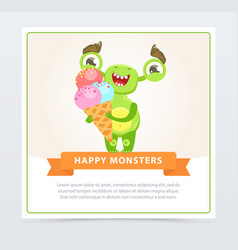cute happy green monster holding ice cream happy vector image